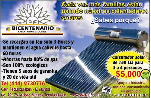 Calentadores solares bicentenario en tequisquiapan tel fono for Cuanto cuesta poner una piscina en casa